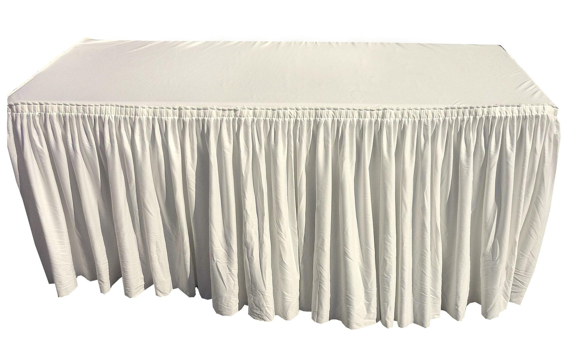 Alquiler de mantel funda beige plisado para mesa 180x75cm casagay - Mantel para mesa exterior ...